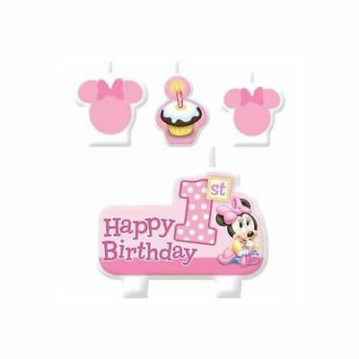 Minnie Mouse 1st Girl Birthday Candles Party Supplies 4 Pieces Set Candles