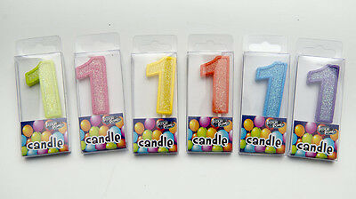 Birthday Candles Number 1 Multi Colors Green Pink Yellow Orange Blue Purple