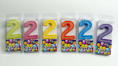 Birthday Candles Number 2 Multi Colors Green Pink Yellow Orange Blue Purple
