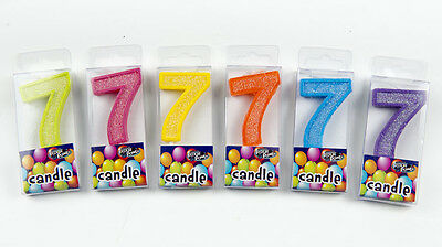 Birthday Candles Number 7 Multi Colors Green Pink Yellow Orange Blue Purple