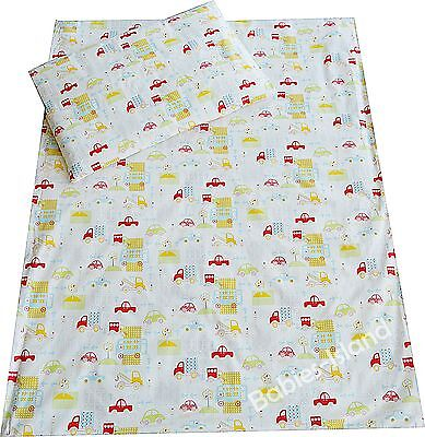 Cot/Cot Bed Bedding set Duvet cover+Pillowcase Baby, Toddler - GREEN CARS