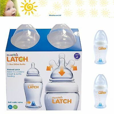 Munchkin Latch Anti Colic 240ml 0m+ Baby Feeding Bottles Set - Twin 2 Pack