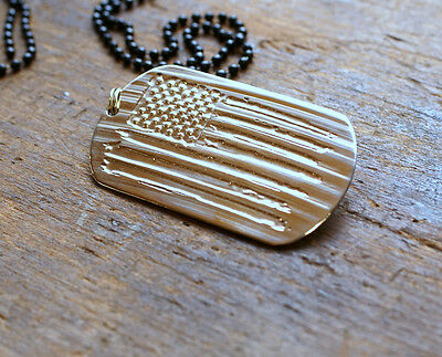 Handmade Etched Dog Tag Necklace - Made from recycled Cymbal  Distressed US Flag