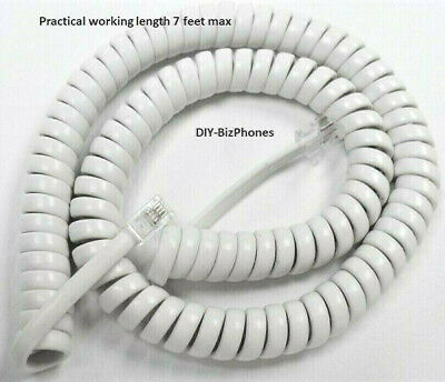 Pack/Lot of 2 White 12' Handset Cord Panasonic Phone KX T7200 T7400 T7600 Series
