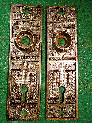 """BEAUTIFUL PAIR of SARGENT EASTLAKE STYLE CAST STEEL BACKPLATES 5 1/4"""" (4288-E)"""