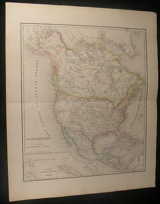 North America United States Canada Mexico Alaska 1876 antique color engraved map