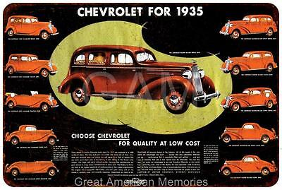 Chevrolet for 1935 Vintage Look Reproduction 8x12 Metal Sign 8120790