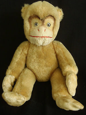 Vintage c1930's Steiff Chimpanzee Mohair Glass Eyes jointed body toy