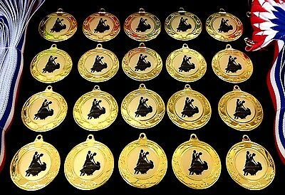 20x Dance Medals (40mm Gold Metal + Dance Centres) + Ribbons