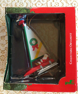 SANTA'S BEST Christmas Charmers Ornament-Santa on a Sailboat-NEW IN BOX
