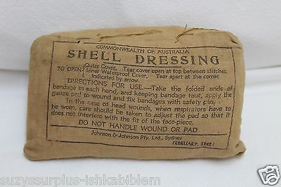 Feb 1942 Commonwealth of Australia Shell Dressing Tan Cotton Package each E8339