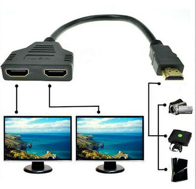 NEW 1080p HDMI Male to 2 HDMI Female Splitter Cable 1 in 2 Out Adapter 30CM