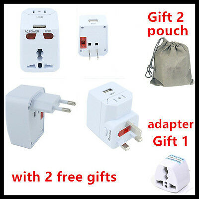 Universal World Travel Adapter Plug AC/USB Power + Surge Protector US/UK/AU/EU