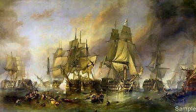 The Battle of Trafalgar by Stanfield Wall Art Poster Print Painting War Ships A3