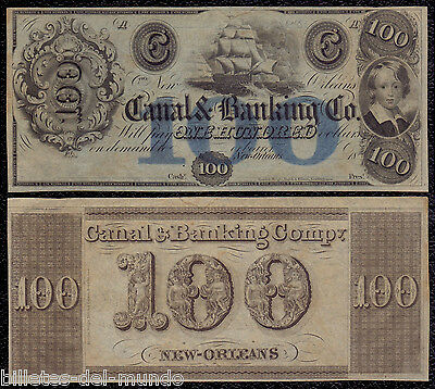 B-D-M United States  Obsolete Currency 100 dollars 1800´s Canal & BankIng CO.
