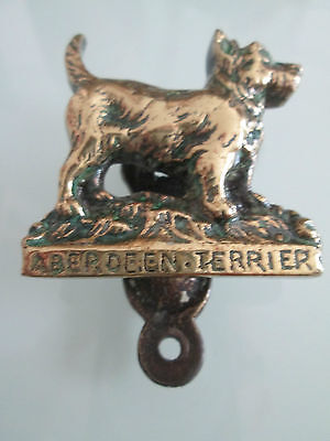 Minature old Brass dog Aberdeen Terrier door knocker