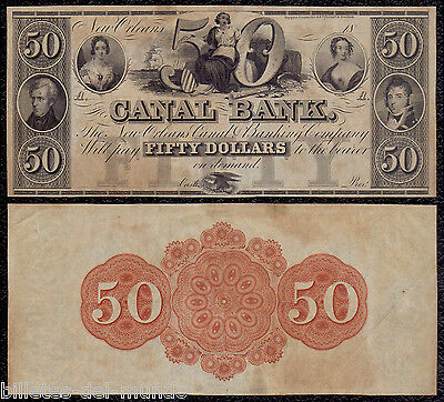 B-D-M United States Obsolete Currency 50 dollars 1800´s Canal Bank New Orleans