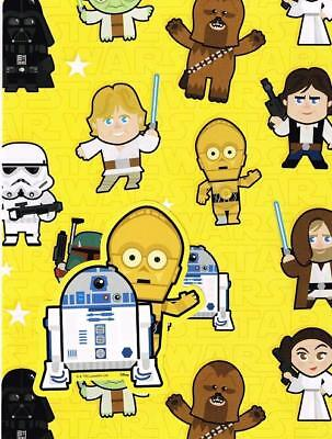 Star Wars Cartoon Gift Wrap 2 Sheets And 2 Gift Tags New Gift