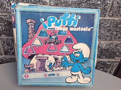 80S Faiplast Puffi Smurfs Collectible Vintage Toy Musical Mushroom Fungo Nib