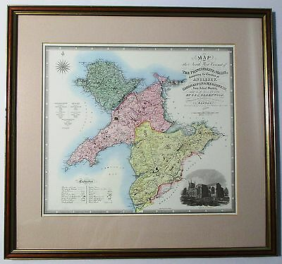 Framed & Matted 19x18 Map of THE PRINCIPALITY OF WALES C& J Greenwood Survey