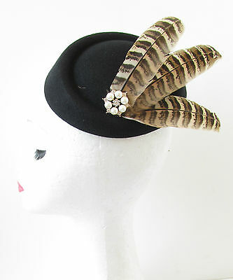 Black Pheasant Feather Pillbox Hat Fascinator Vintage 1940s Races Brown 1920 S70