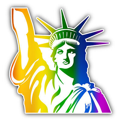Gay Rainbow Flag Statue Of Liberty USA Car Bumper Sticker Decal 5'' x 5''