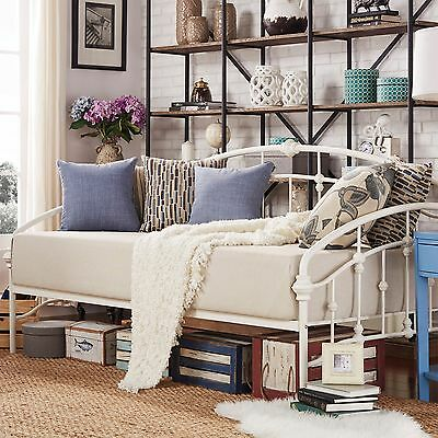 Victorian Iron Metal Daybed Frame Twin Size Antique White Bed French