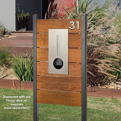 HENDON MERBAU Timber Panel Letterbox Stainless Steel Mailbox