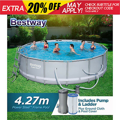 NEW BESTWAY ABOVE GROUND SWIMMING POOL Steel Frame Filter Pump 56643 14ft 427cm