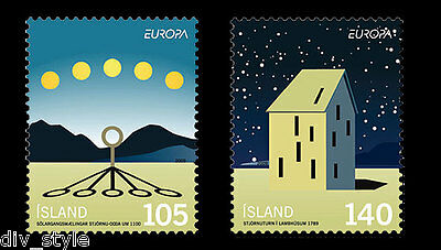 Astronomy 2009 Europa Issue 2 mnh stamps Iceland #1169-70 Observatory shadows