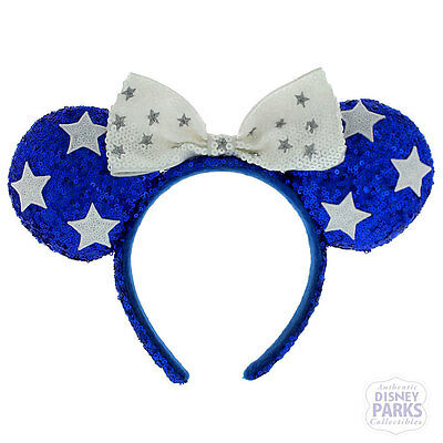 Disney Parks Blue Patriotic Glitz Minnie Mouse Ear Headband with Bow & Stars