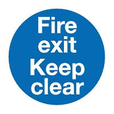 10 x Fire exit keep clear self-adhesive vinyl safety sign 90 x 90mm