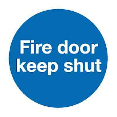 10 Fire door keep shut self-adhesive vinyl safety sign 90 x 90mm