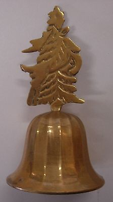 Brass Bell With Reindeer - Christmas Tree On Top