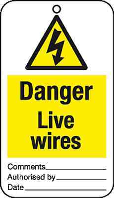 10 x Danger Live wires tie tag signs - job lot health and safety