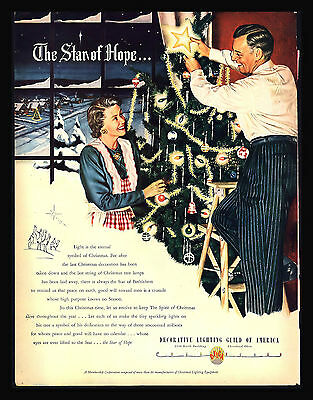 "Vintage 1948 ""the Star Of Hope"" Christmas Tree Bulbs  Three Wise Men  Print Ad"