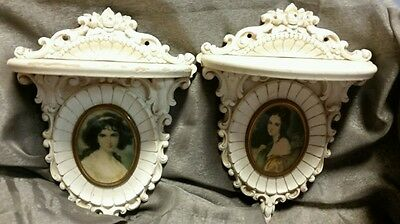 "Pair of small Vintage White Shelves with Cameo picture 6 1/4"" x 8 1/4 """