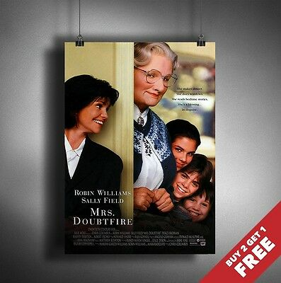 MRS DOUBTFIRE 1993 MOVIE POSTER A3 A4* Robin Williams Classic Comedy Film Print