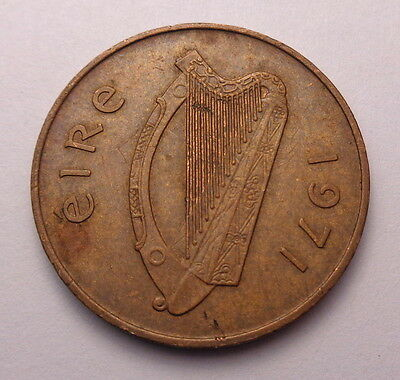 1971 Ireland Penny 2P Pence Eire Coin