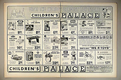 Children's Palace Toy Store 2-Page PRINT AD - 1968 ~~ toys