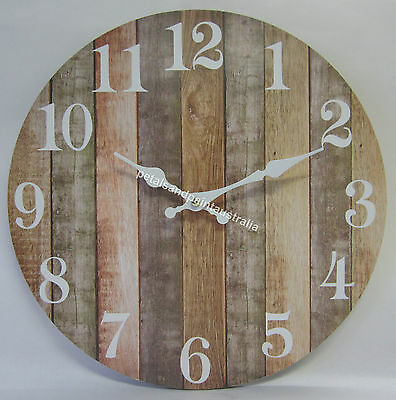 34cm New Country Rustic Clock Brown, Beige, Tan Boards Weathered Aged Look