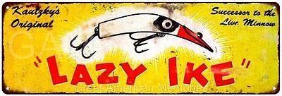 Lazy Ike Fishing Lure Vintage Look Reproduction 6x18 Metal Sign 6180031