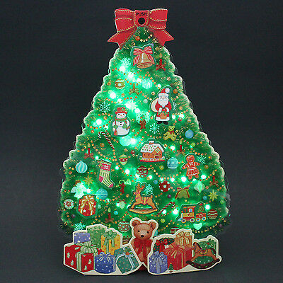 Illuminated Christmas Tree w/ Gifts Lights and Melody Pop Up Greeting Card