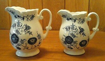 Blue and White Pitchers Set of Two (2), Unmarked, Cornflower?, Vintage ?
