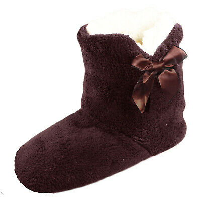 Soft Cosy Ladies Womens Girls Fleece Lined Ankle Slipper Boots Winter Slippers