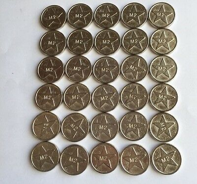 30 Sunbed Tokens M2 silver compatible with L2 sunbed tanning token meter machine