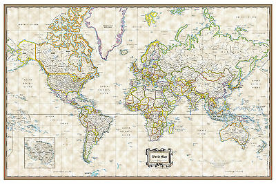 """World Classic Executive Wall Map Poster - 36""""x24"""" Rolled Paper 2019"""