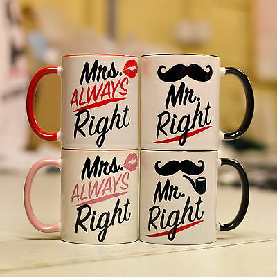 Mr Right Mrs always Right Couple mugs great cup gift for boyfriend girlfriend