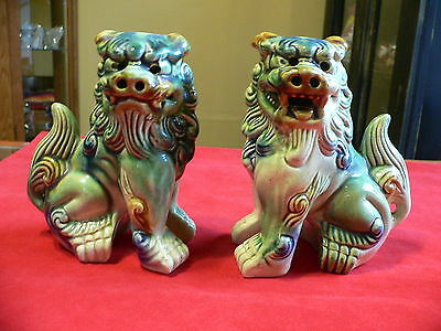 "Vtg 5-1/2"" green/blue Porcelain Temple Foo Dogs"