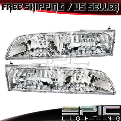 Fits 1992-97 Ford Crown Victoria Headlights Headlamps Pair Left Right Set